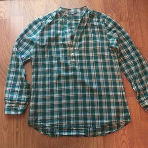 Green plaid cotton tunic
